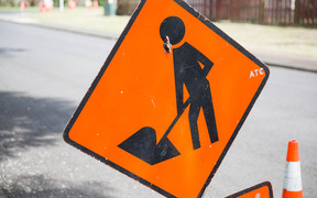 A road works sign
