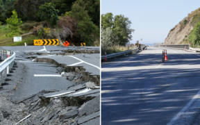 A section of SH1 south of Kaikōura after the quake, left, and a different section after repair work over the last month.