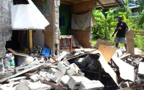 A family in Kirakira, narrowly escaped with their lives after the wall of their family home collapsed during the 7.8 earthquake which hit Solomon Islands on 9 December, 2016.