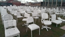 The 185 Chairs earthquake memorial in Christchurch has suffered vandalism.