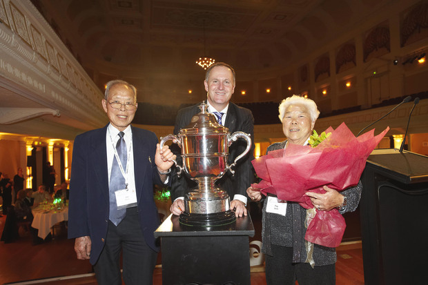 Joe and Fay Gock with the Bledisloe Cup and Prime Minister John Key.