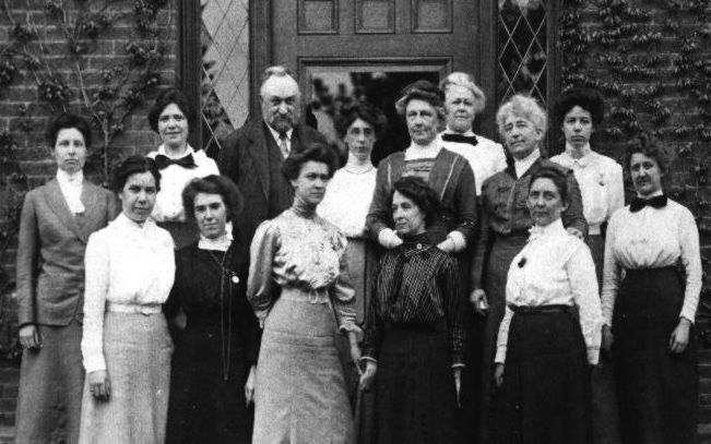 Edward Pickering and some of the woman who worked at the Harvard College Observatory.