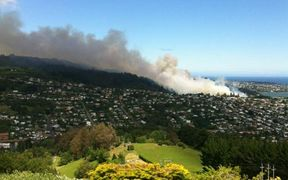 The huge scrub fire on Signal Hill on the edge of Dunedin could be seen from across the city.