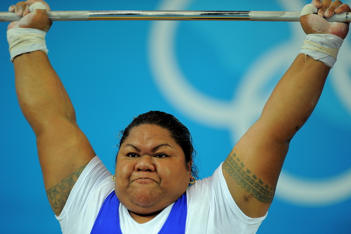 Ele Opeloge of Samoa competes in the women's +75 kg weightlifting event during the 2008 Beijing Olympic Games on August 16, 2008.