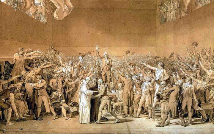 Sketch by Jacques-Louis David of the National Assembly taking the Tennis Court Oath