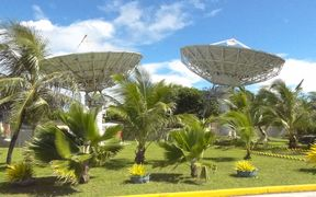 National Telecommunication Authority's satellite reception disks at its Majuro headquarters