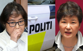 Choi Soon-sil, left, and Park Geun-hye, with a Danish police car at the centre. Ms Choi's daughter has been arrested in Denmark, accused of staying in the country illegally.