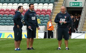 Leicester Tigers coaching staff from left Scott Hansen, Aaron Mauger and Richard Cockerill.