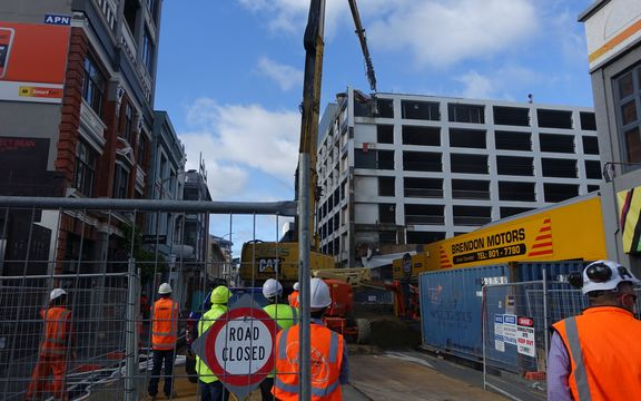 The demolition of the Reading Cinemas car park begins.