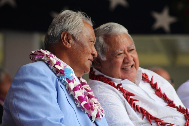 American Samoa's speaker of the house Savali Talavou Ale (right) and the Prime Minister of Samoa Tuilaepa Sa'ilele Malielegaoi (right) at the swearing in of the territory's governor and lieutenant governor on the 4th January, 2017.