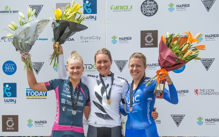 Cyclist Jaime Nielsen (middle) tops the podium for the women's time trial at the 2017 National Road Championships.