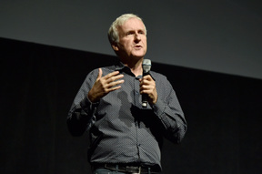 Writer/director James Cameron of 'Avatar 2' speaks onstage during CinemaCon 2016