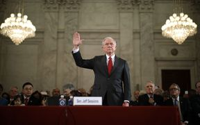 Senator Jeff Sessions is sworn in before the Senate Judiciary Committee during his confirmation hearing to be the US attorney general.