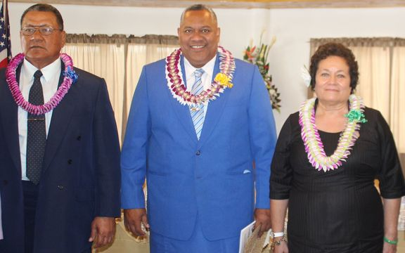 Senate President Gaoteote Palaie, Lt. Gov Lemanu Peleti Mauga and Congresswoman Aumua Amata Radewagen attend the State of the Territory address. Jan 2017