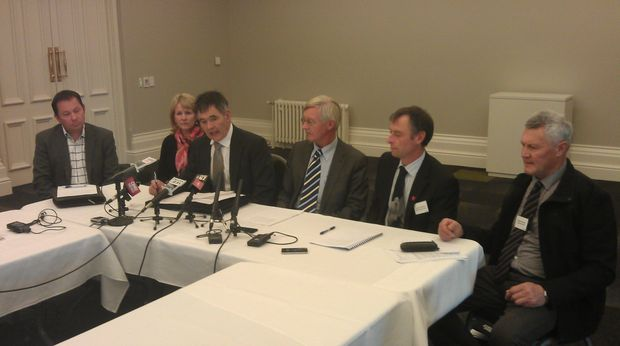 Mayor Dave Cull (third from left) says Invermay must be kept in Dunedin.