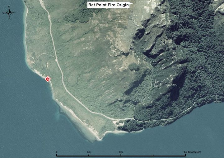 The Otago Regional Fire Authority believes the fire broke out at this spot, on the beach below Rat Point.