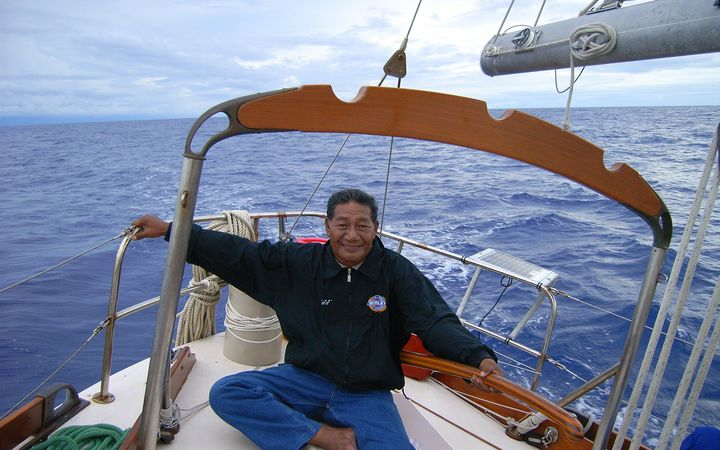 The late Korent Joel pictured on a navigation teaching trip in the mid-2000s in the Marshall Islands. Mr Joel was one of only a handful of Marshall Islanders who still knew traditional wave and star navigation.