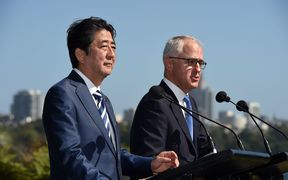 Japan's Prime Minister Shinzo Abe and his Australian counterpart Malcolm Turnbull speak at Kirribilli House in Sydney after bilateral talks.
