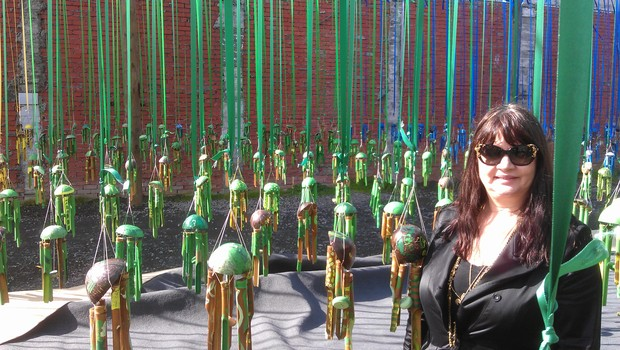 Suzanne Porter by artist Tiffany Singh's community art installation in New Plymouth.