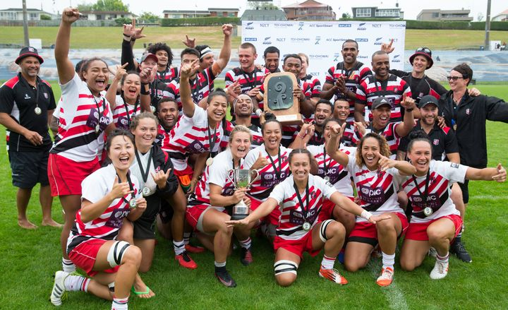 Jubilant Counties Manukau players with their trophies.