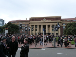 Evacuation at Wellington railway station.