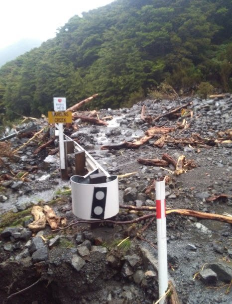 Flood damage at Wardens Creek, west of Arthur's Pass.