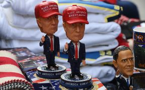 Donald Trump merchandise on sale outside the White House amid final preparations for the inauguration.