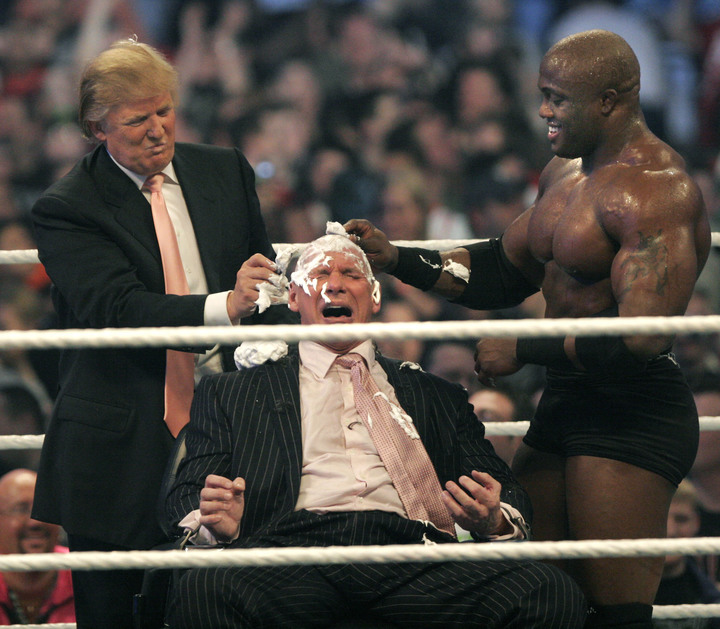 WWE chairman Vince McMahon has his head shaved by Donald Trump after losing a bet in the Battle of the Billionaires at Wrestlemania in 2007.