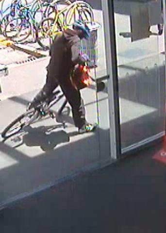 This cyclist is being sought by police in relation to the bank robbery in Upper Riccarton, Christchurch.
