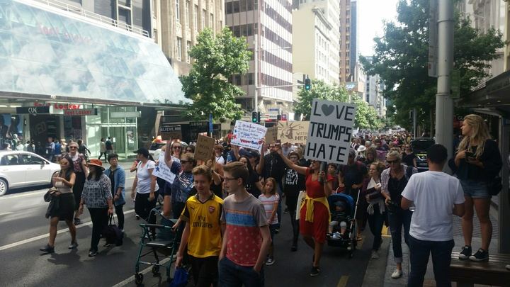 At least 2000 people turned out to the Women's March in Auckland.