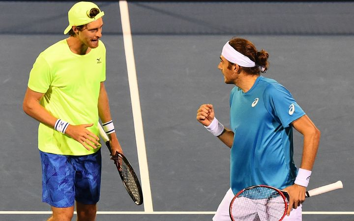 Marcus Daniell and Marcelo Demoliner during the ASB Classic