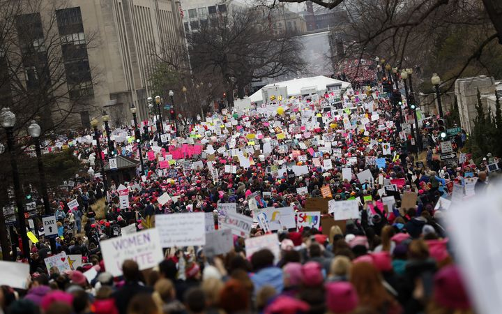 Thousands of people gathered to protest for women's rights in Washington DC after the inauguration of US President Donald Trump.