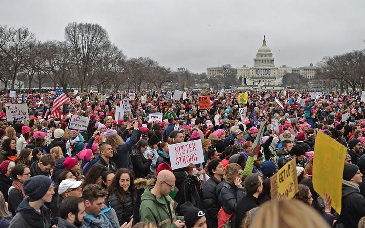 Protesters supporting women's rights gathered at the National Mall in Washington DC the day after President Donald Trump's inauguration.