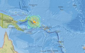 A powerful but deep earthquake has struck west of Papua New Guinea.