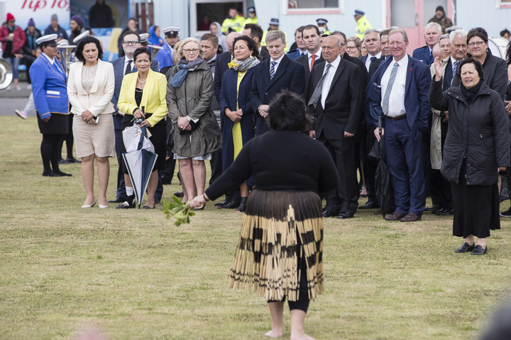 Bill English (centre) being welcomed onto Ratana Pā.