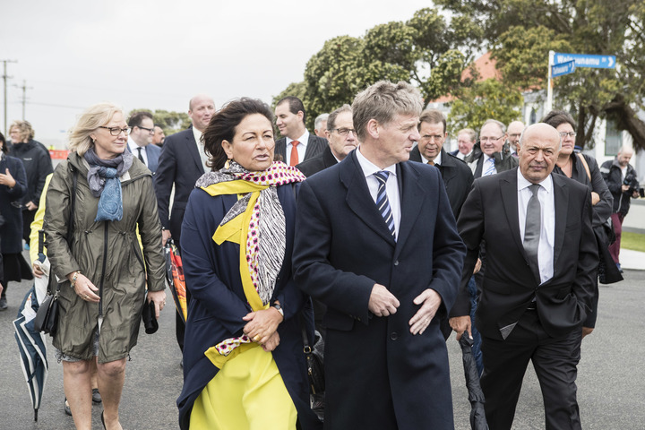 Education Minister Hekia Parata and Prime Minister Bill English (centre).