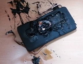 A picture of a damaged Samsung Galaxy Note 7 phone posted on a Facebook page.