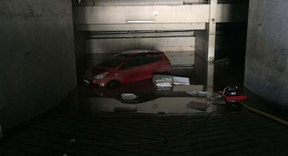 A car was flooded after severe storms hit Tahiti.