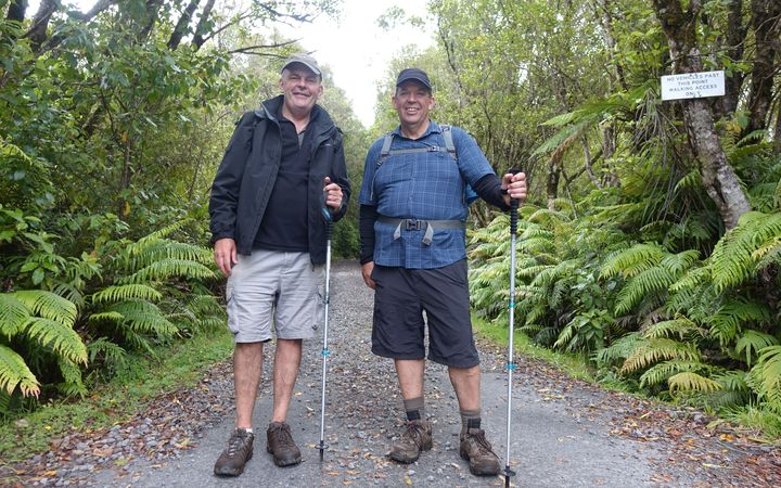 Finance Minister Steven Joyce, left, was taken over the Pouakai Crossing by New Plymouth MP Jonathan Young at the weekend.