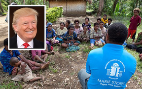 Marie Stopes International with Donald Trump, inset.