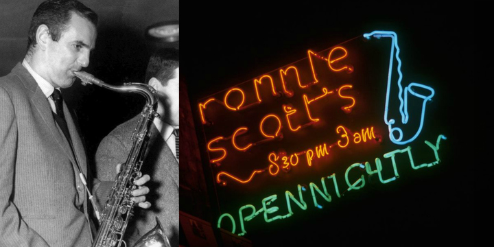 English saxophonist and jazz club owner Ronnie Scott who would have been celebrating his 90th birthday in 2017. The famous neon sign outside the club in Soho, London.