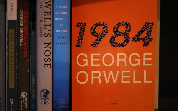 A copy of George Orwell's novel '1984' is displayed at The Last Bookstore in Los Angeles, California.