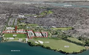 The area in red will be used for new homes under the plan for the Point England Reserve development.