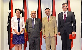 PNG prime minister Peter O'Neill (second from left) meets with World Bank officials, from left: Anne Tully (Country Program Coordinator); Michael Kerf (Country Director); and Andrew Cooper (Senior Operations Officer)