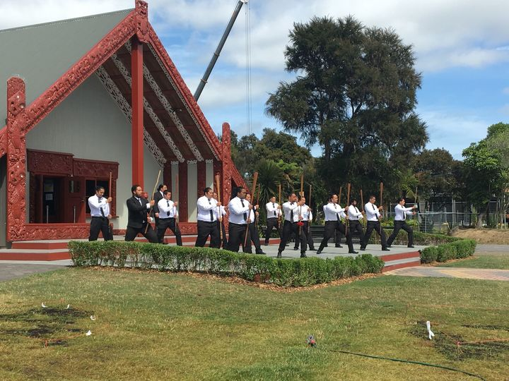 The Haka pōwhiri performed at Rotowhio marae as part of the gathering to honour Clives service and work.