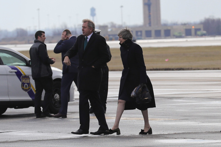 Theresa May, right, arriving in Philadelphia for her two-day visit to the United States.