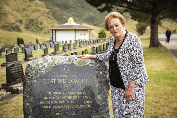 Holocaust Remembrance Day held at Makara Cemetery in Wellington. Survivor Inge Woolf, Director of Holocaust Center of New Zealand.