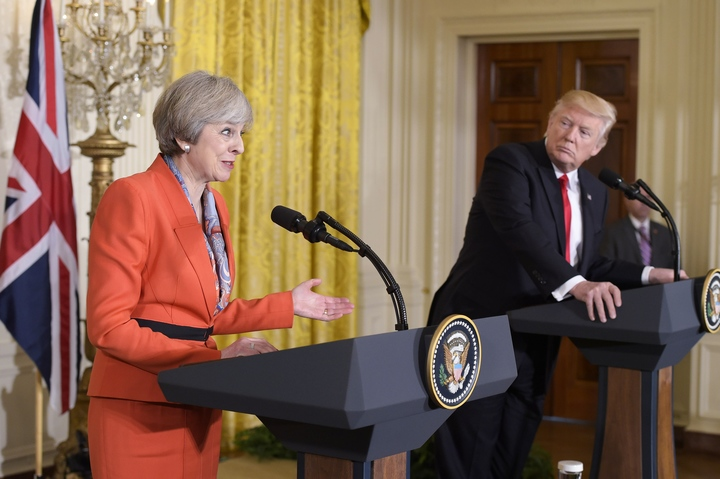 Britain's Prime Minister Teresa May at a joint press conference with US President Donald Trump.