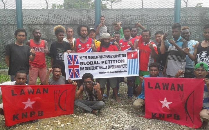 West Papuan people showing their support from inside the prison in Timika for the Global Petition for West Papua.