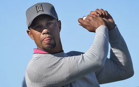 Tiger Woods practicing his swing during round two at Torrey Pines.
